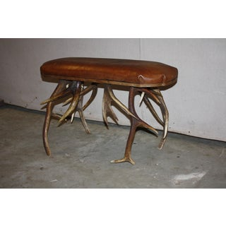 20th Century Small Brown Leather Top Bench With Stag Horn Base Preview