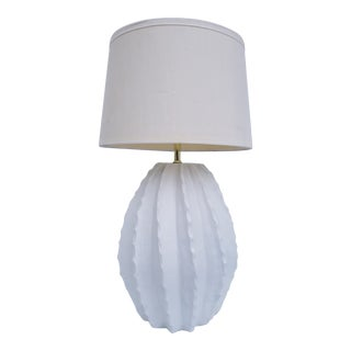 Vintage Fluted White Plaster Table Lamp