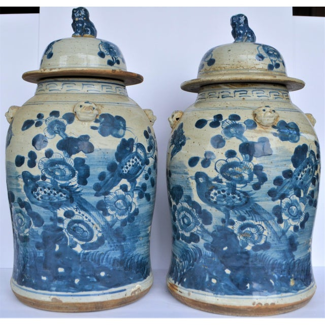 2010s Chinoiserie White & Blue Baluster Temple With Birds / Ginger Jars - a Pair For Sale - Image 5 of 5