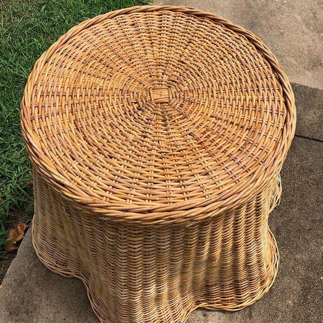 Billy Baldwin Boho Chic Round Wicker Bamboo Rattan Trompe l'Oeil Ghost or Draped Table in the Manner of Michael Taylor For Sale - Image 4 of 5