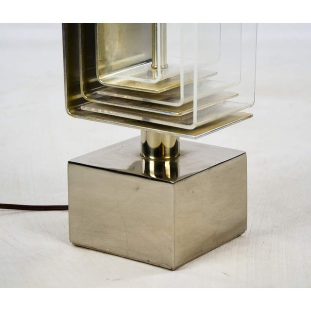 Transparent 1970s Vintage Chrome and Lucite Table Lamp For Sale - Image 8 of 13