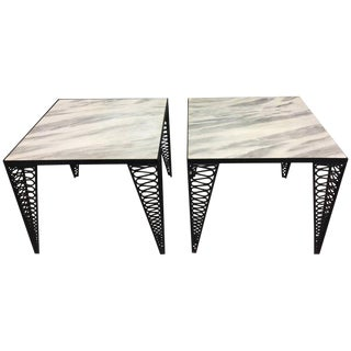 Salterini Black Iron & White Marble End Tables - A Pair
