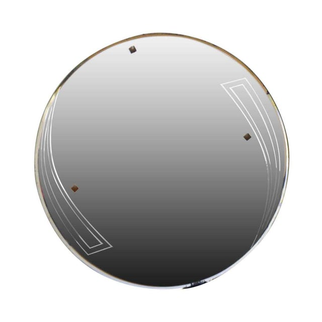 Deco Style Round Frameless Mirror For Sale - Image 4 of 4