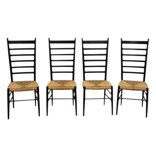 Black Ladder Back With Wicker Seat Dining Chairs - Set of 3 For Sale