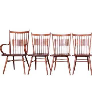 1950s Vintage Stewart Macdougall, Kipp Stewart for Drexel Declaration Centennial Walnut Chairs- 4 Pieces For Sale