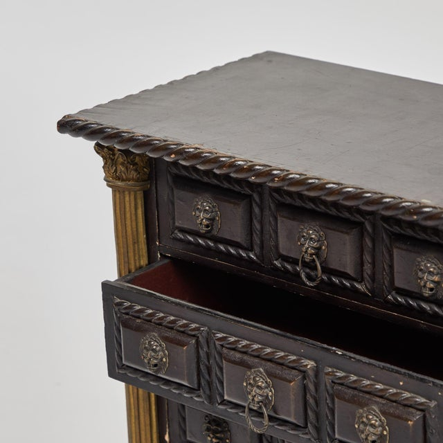 A tabletop chest of drawers (one available), originating in Portugal, circa 1910.