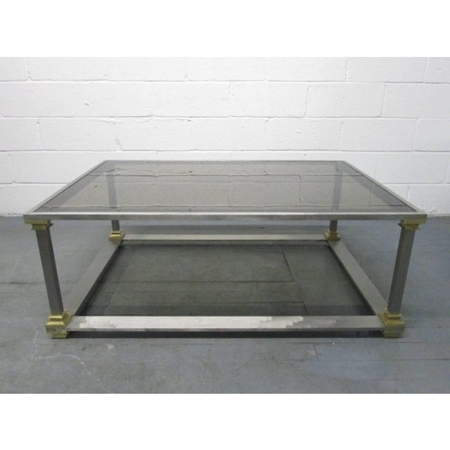 Mid-Century Modern Brushed Steel and Brass Coffee Table For Sale - Image 3 of 7