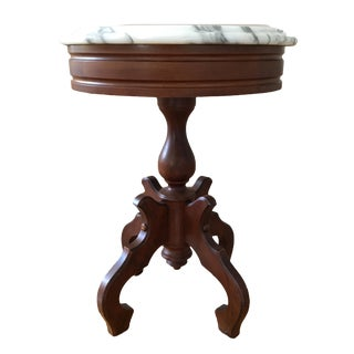 20th Century Art Nouveau Marble Top Mahogany Side Table