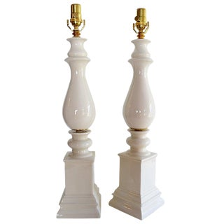 1940s Mid-Century Modern Blanc De Chine Baluster Form Table Lamps - a Pair For Sale