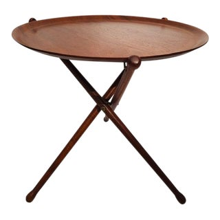 1950s Swedish Nils Trautner Teak Tray Table on Folding Tripod Stand For Sale