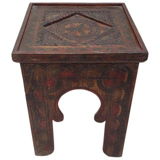 Moroccan Hand Carved Wooden Side Table For Sale