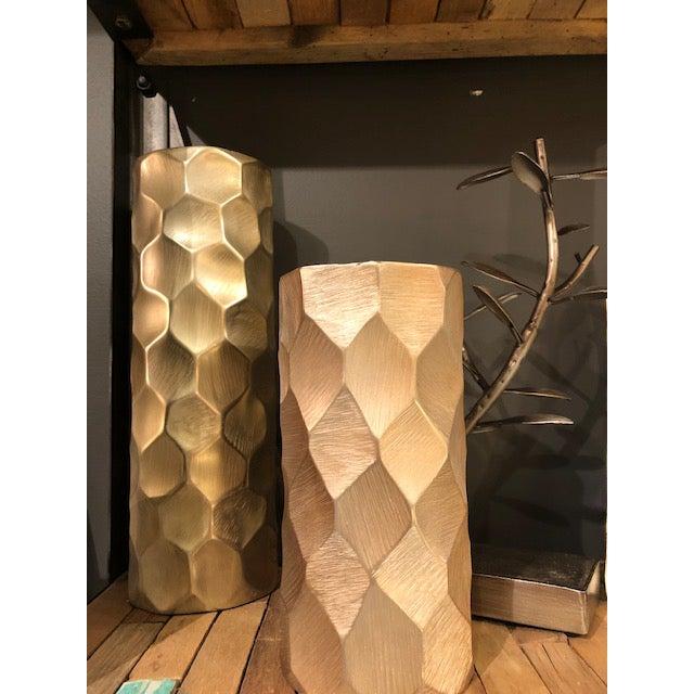 Contemporary Brushed Gold Cylinder Vase For Sale - Image 3 of 4