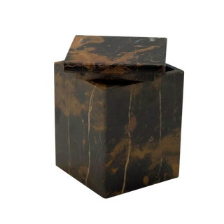 Black & Gold Marble Canister For Sale