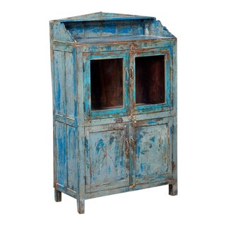 """Rustic Farmhouse Style Bright Blue Cabinet With Four Doors - 55"""" For Sale"""