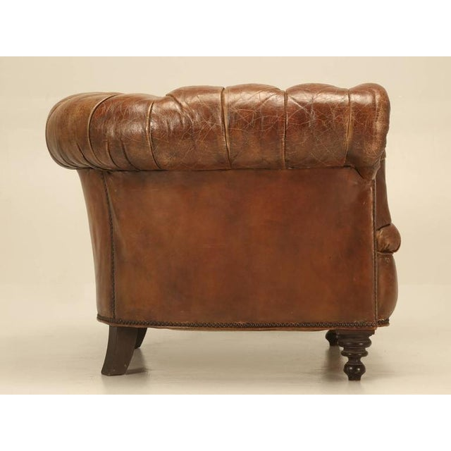 English Original Leather Antique Chesterfield Chair For Sale - Image 3 of 11