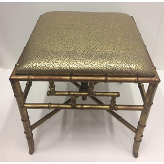 1960s Vintage Gilt Iron Faux Bamboo Ottoman Bench Preview