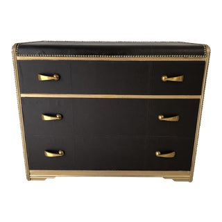 Art Deco Travel Luggage Chest of Drawers in Naugahyde With Brass Nail Trim For Sale