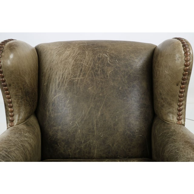 Regency Style Green Leather Club Chair and Ottoman - Image 7 of 11