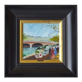 """Mid-Century A. Maresca """"Street in Paris"""" Oil on Tile Painting For Sale"""