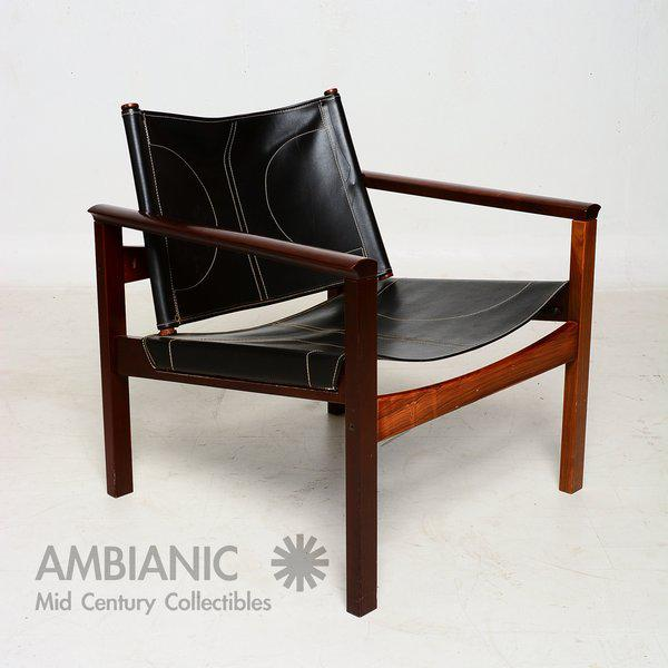 Mid-Century Modern Pair of Leather & Rosewood Michel Arnoult Safari Armchairs For Sale - Image 3 of 9