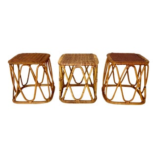 Vintage Rattan Wicker Accent Tables- Set of 3 For Sale