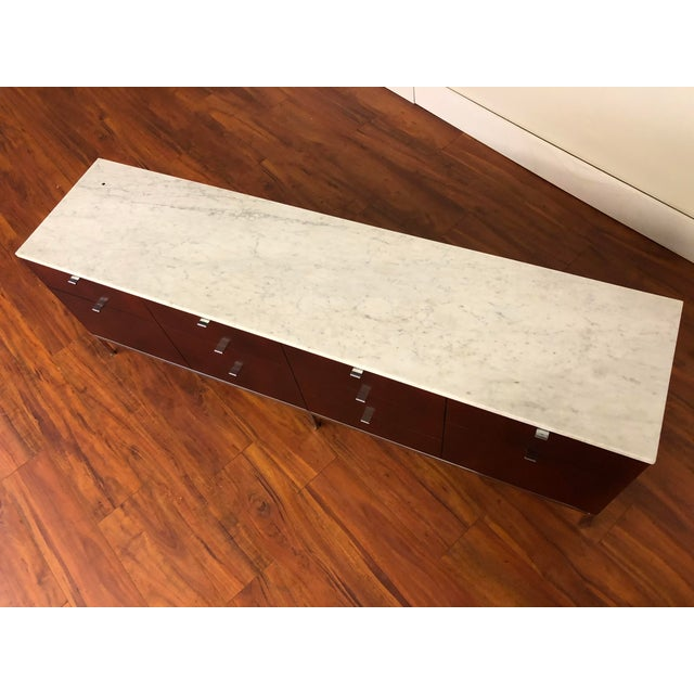 Florence Knoll Four Position Credenza With Marble Top For Sale - Image 11 of 13