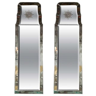 "Pair of Rare Decorative Etched ""Charleston"" Oblong Beveled Glass Mirrors For Sale"