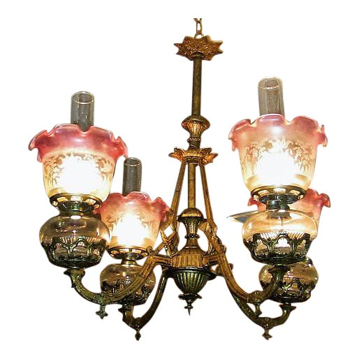 19c Pair of Bradley and Hubbard Gold Leaf 4 Arm Chandeliers - Image 1 of 13