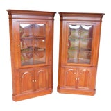 Image of Pennsylvania House Cherry Chippendale Style Corner Cabinets - a Pair For Sale