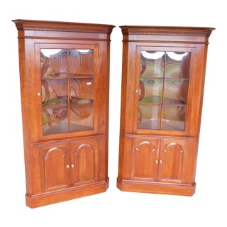 Pennsylvania House Cherry Chippendale Style Corner Cabinets - a Pair For Sale