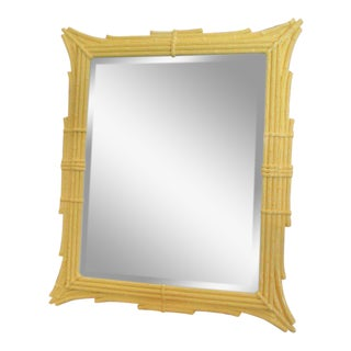Yellow Faux Bamboo Mirror