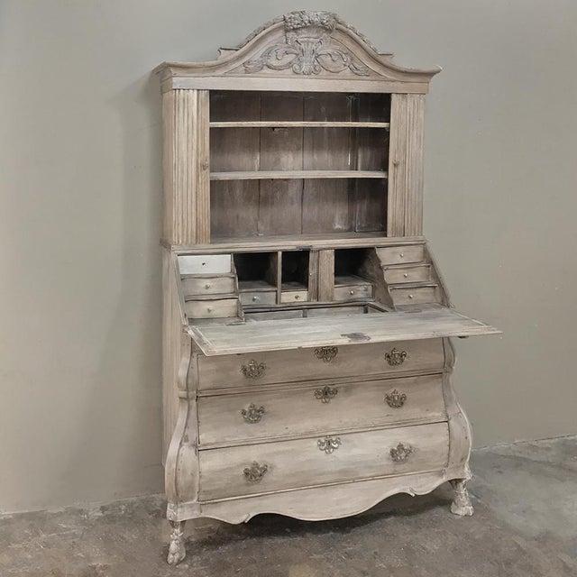 Baroque 18th Century Dutch Tambour Stripped Oak Secretary ~ Bookcase For Sale - Image 3 of 13