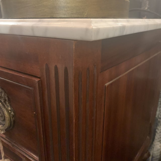 1950's French Louis XVI Style Marble-Top Mahogany Commode For Sale - Image 10 of 13