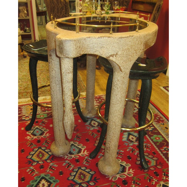 Marge Carson Elephant Bar Table And Stools For Sale - Image 4 of 5