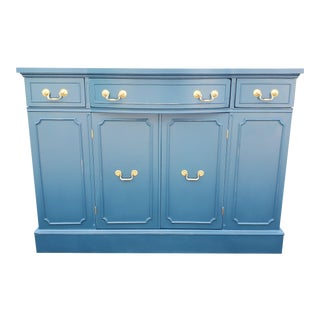 1960s Seaworthy Blue Buffet Credenza For Sale