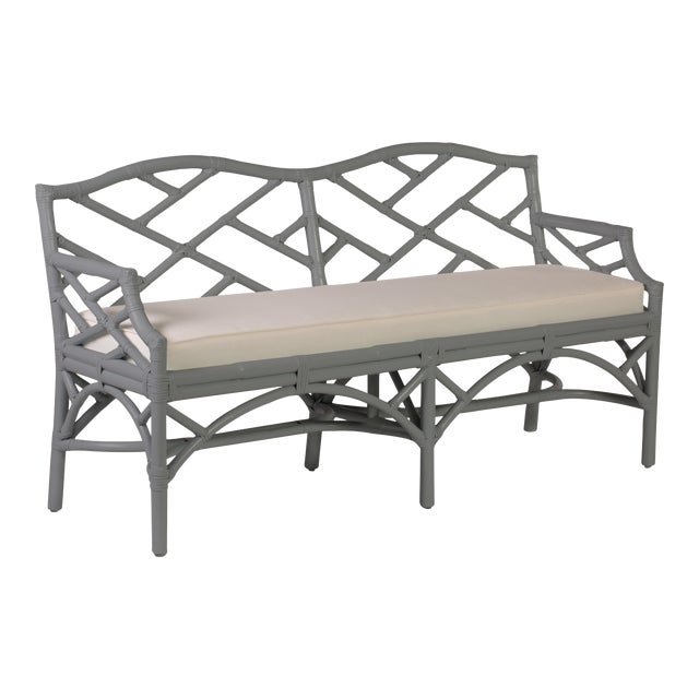 Chippendale Bench - Light Gray For Sale