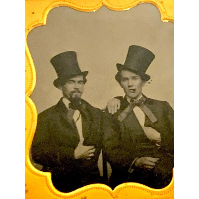 Daguerreotype Portrait of Two Men Embracing, Smoking With Ties and Top Hats For Sale - Image 9 of 11