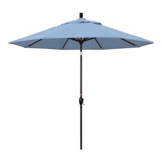 Casa Cosima 9' Riviera Patio Umbrella With Bronze Aluminum Pole in Sunbrella Air Blue Fabric For Sale