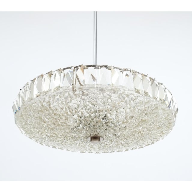 Beautiful Bakalowits & Sohne reversed dome chandelier featuring a large textured glass bowl with a circumferential row of...