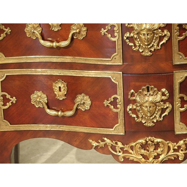 Pair of Early 1900s Mahogany and Gilt Bronze Mounted Louis XV Style Commodes For Sale - Image 12 of 13