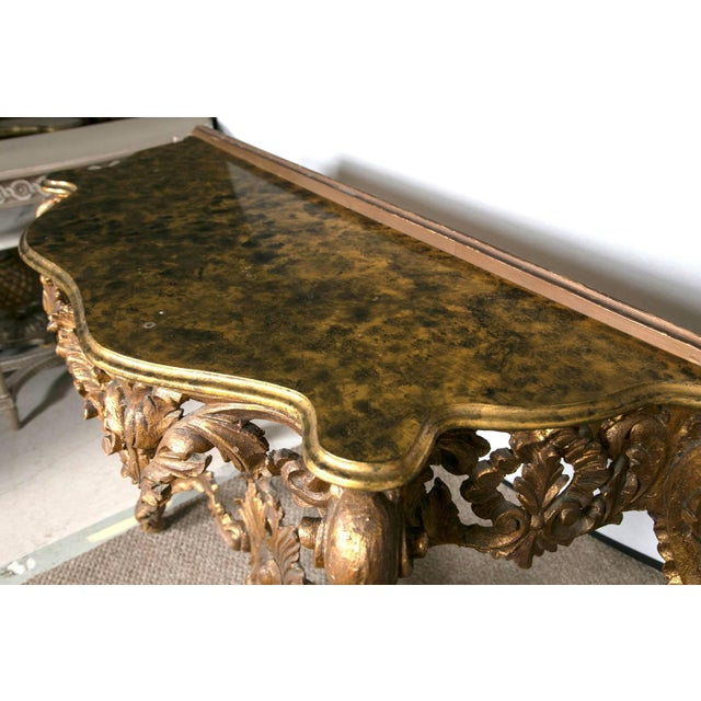 Italian Giltwood Consoles with Faux Marble - Pair For Sale In New York - Image 6 of 7