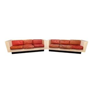 Massimo Vignelli 'Saratoga' Sofas, White Lacquered Wood and Leather, Italy, 1964