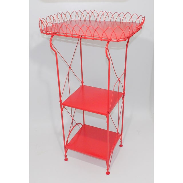Red French Country Farmhouse Red Metal Shelf For Sale - Image 8 of 8