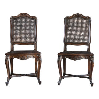 Early 20th Century Vintage French Style Cane Dining Chairs- A Pair For Sale
