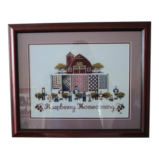 Amish Style Raspberry Homecoming Cross Stitch Textile Art For Sale
