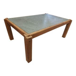 Honed Green Marble Top & Elmwood Cocktail Table