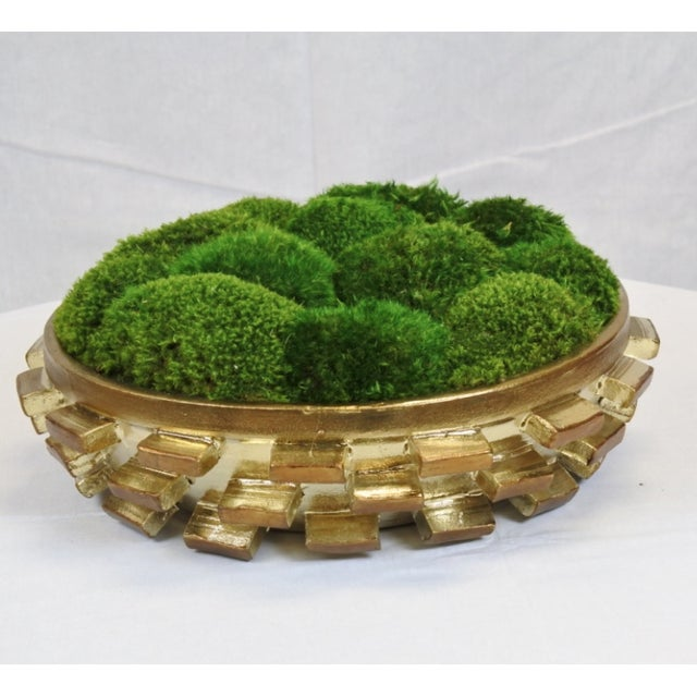 Goldleaf Cermaic Bowl With Preserved Moss - Image 2 of 3