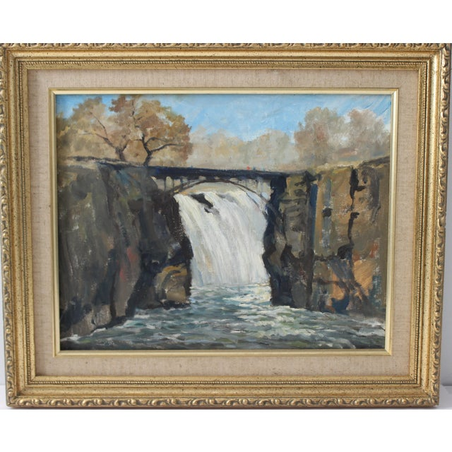 """Vintage Oil Painting """"Paterson Falls"""" John Elliot, Opa For Sale - Image 9 of 12"""