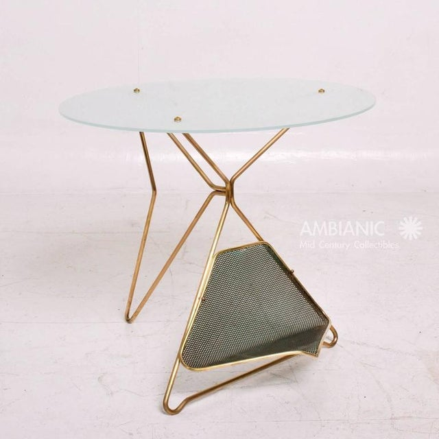 Gold Mid-Century Modern Italian Table With Magazine Holder For Sale - Image 8 of 9