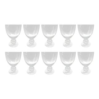 Set of Ten Blown Glass Wine Goblets For Sale